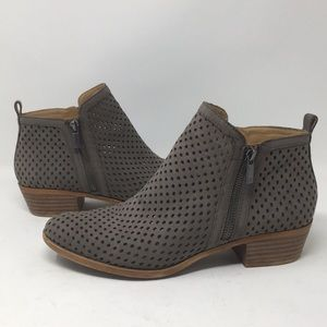 Lucky Brand Ankle Booties Laser Cut Boots Brown 10